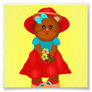 Cute Little Bear with Flowers Photograph