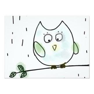 Cute Little Blue Owl 14 Cm X 19 Cm Invitation Card