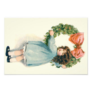 Cute Little Girl Holly Wreath Pink Bow Photographic Print