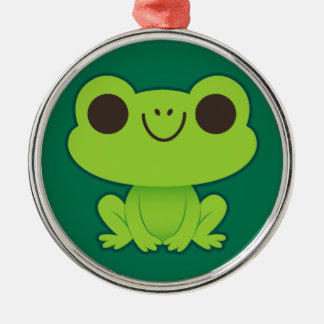 Cute Little Green Frog Silver-Colored Round Decoration