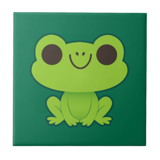 Cute Little Green Frog Small Square Tile