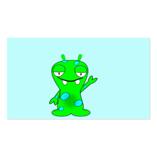 Cute Little Green Monster, Waving Pack Of Standard Business Cards