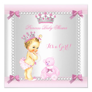 Cute Little Princess Baby Shower Girl Blonde 13 Cm X 13 Cm Square Invitation Card