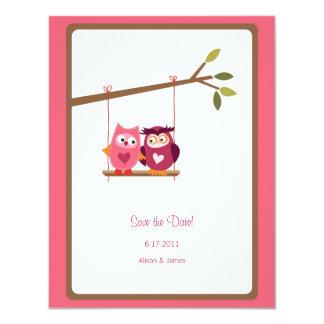 Cute Love Bird Owls Save the Date Annoucement 11 Cm X 14 Cm Invitation Card