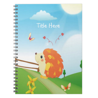 Cute Love Hedgehog with Butterfly Sunny Day Note Books