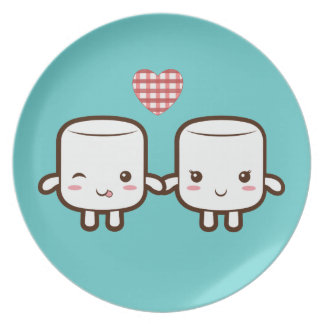 Cute Marshmallow couple Plate