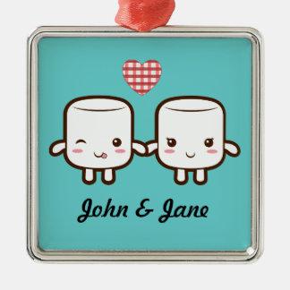 Cute Marshmallow couple Silver-Colored Square Decoration