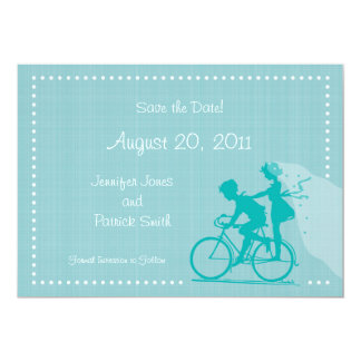 CUTE Modern Couple on Bicycle Save the Date 13 Cm X 18 Cm Invitation Card