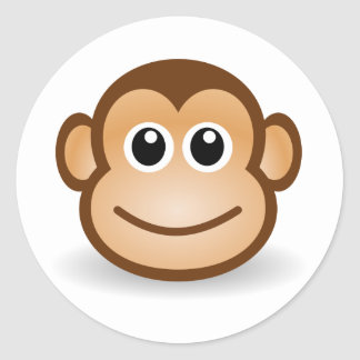 Cute Monkey Face Round Sticker