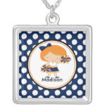 Cute Necklace Cheerleader Blue Polka Dots Pendant