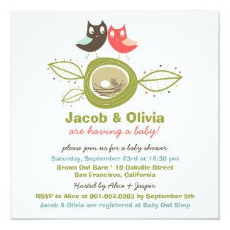 Cute Nesting Owl Family Baby Shower Invitation