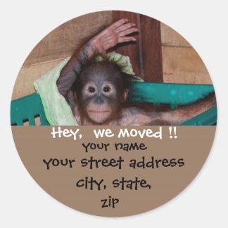 Cute New Address Wildlife Labels Round Sticker