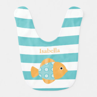 Cute Orange and Aqua Fish Bib
