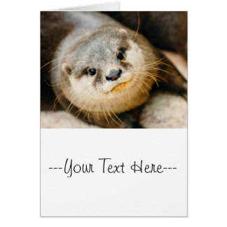 Cute Otter, Animal Portrait, Nature Photography Greeting Card