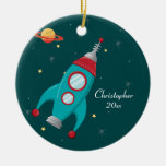Cute outer space rocket ship personalised ornament