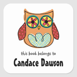 Cute Owl Bookplate Labels Square Sticker