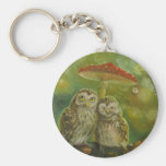 Cute Owl Couple under the Mushroom Basic Round Button Key Ring