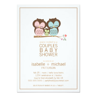 Cute Owl Family Couples Baby Shower Neutral 13 Cm X 18 Cm Invitation Card