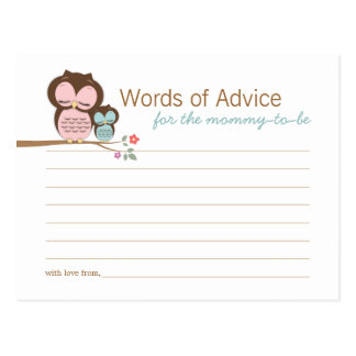 Cute Owl & Mama Words of Advice Mommy Cards Postcard