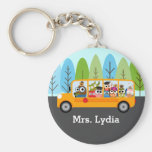 Cute Owl School Bus Driver Basic Round Button Key Ring