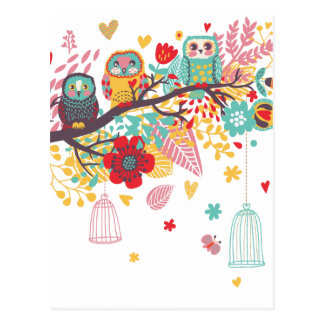 Cute Owls and colourful floral image background Postcard