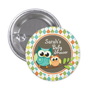 Cute Owls on Colorful Argyle; Baby Shower 3 Cm Round Badge