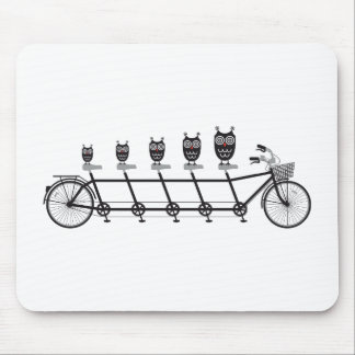 cute owls on tandem bicycle mouse pad