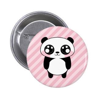Cute Panda Bear Pink Stripes Background 6 Cm Round Badge