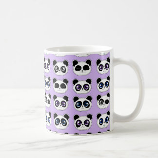 Cute Panda Expression Purple Basic White Mug