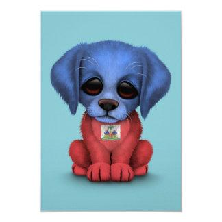 Cute Patriotic Haitian Flag Puppy Dog, Blue 9 Cm X 13 Cm Invitation Card