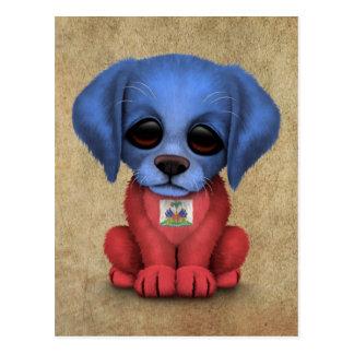 Cute Patriotic Haitian Flag Puppy Dog, Rough Postcard