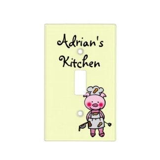 cute piggy chef - kitchen switch plate covers