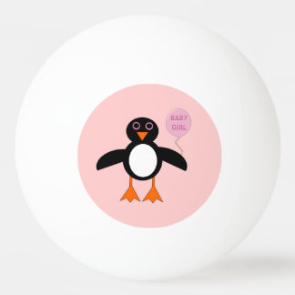 Cute Pink Baby Girl Penguin Ping Pong Ball