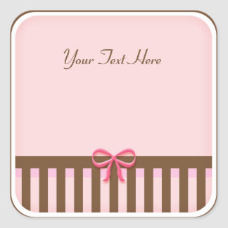 Cute pink & Brown Striped Sticker with Bow