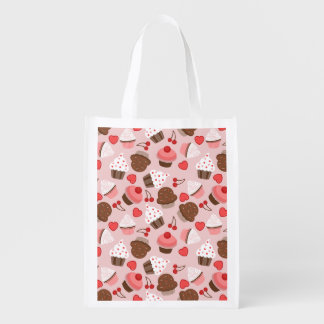 Cute Pink Cupcakes, Hearts And Cherries Pattern