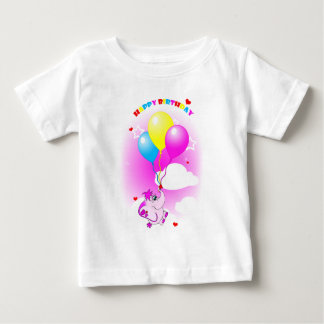 Cute Pink Elephant Happy Birthday Infant T-Shirt