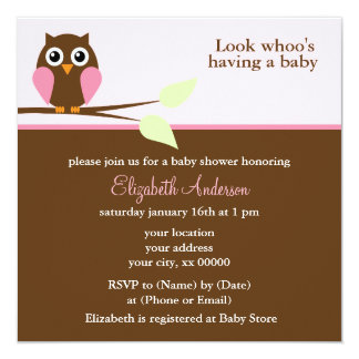 Cute Pink Owl Girl Baby Shower 13 Cm X 13 Cm Square Invitation Card