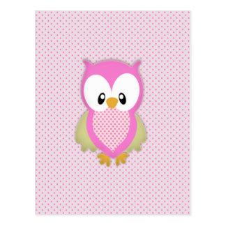 Cute pink owl polka dots pink pattern image print postcard