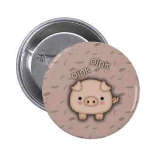 Cute Pink Pig Oink Pink Background 6 Cm Round Badge