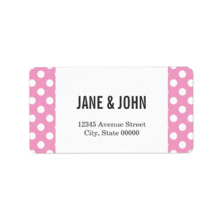 Cute Pink Polka Dots Pattern Address Label
