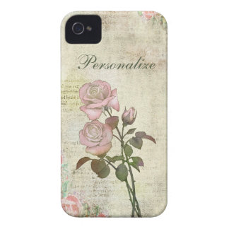 Cute Pink Roses on Vintage Background iPhone 4 Case