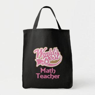 Cute Pink Worlds Best Math Teacher Grocery Tote Bag