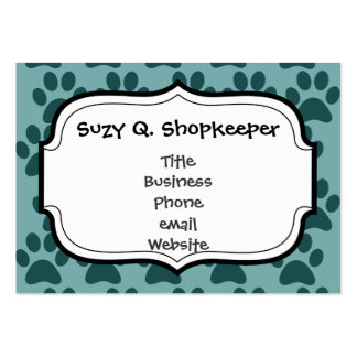 Cute Puppy Dog Paw Prints Blue Gray Dog Lovers Pack Of Chubby Business Cards