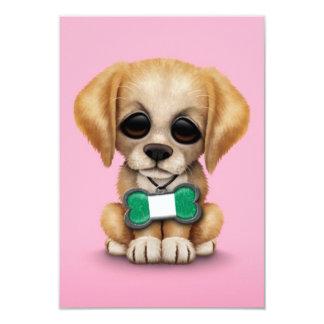 Cute Puppy with Nigerian Flag Dog Tag, pink 9 Cm X 13 Cm Invitation Card