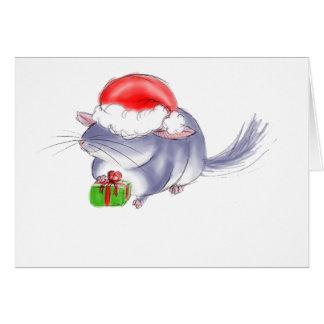Cute Purple Chinchilla Christmas Greeting Card