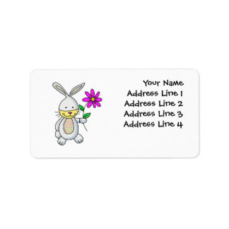 Cute Rabbit With Flower Address Label