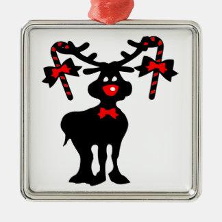 Cute reindeer  vector art Premium Square Ornament