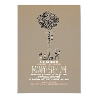 cute rustic tree and mason jars engagement party 13 cm x 18 cm invitation card