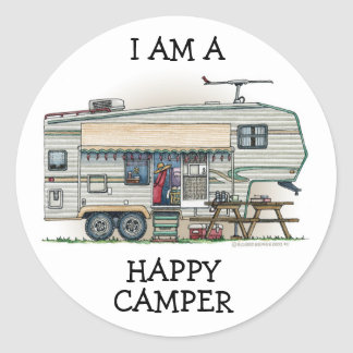 Cute RV Vintage Fifth Wheel Camper Travel Trailer Round Sticker