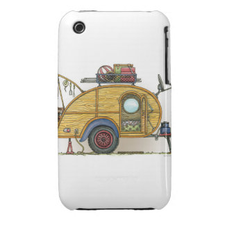 Cute RV Vintage Teardrop  Camper Travel Trailer Case-Mate iPhone 3 Cases